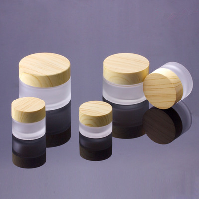 5G 10G 15G 30G 50G Frost Glass Bottle Plastic Bamboo Lid Glass Jar Empty Bottle Cream Jar Cosmetic Packaging Container