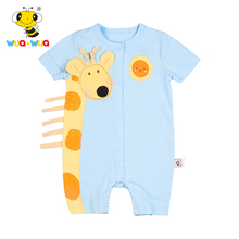 Baumwollgiraffe-Baby-Spielanzug-Rundhals-Baby-Kleidungs-Jungen-Spielanzug-Klage 1 bis 24 Monate Kurzschluss-Hülsen-Overall-Säuglings-Produkt-Satz
