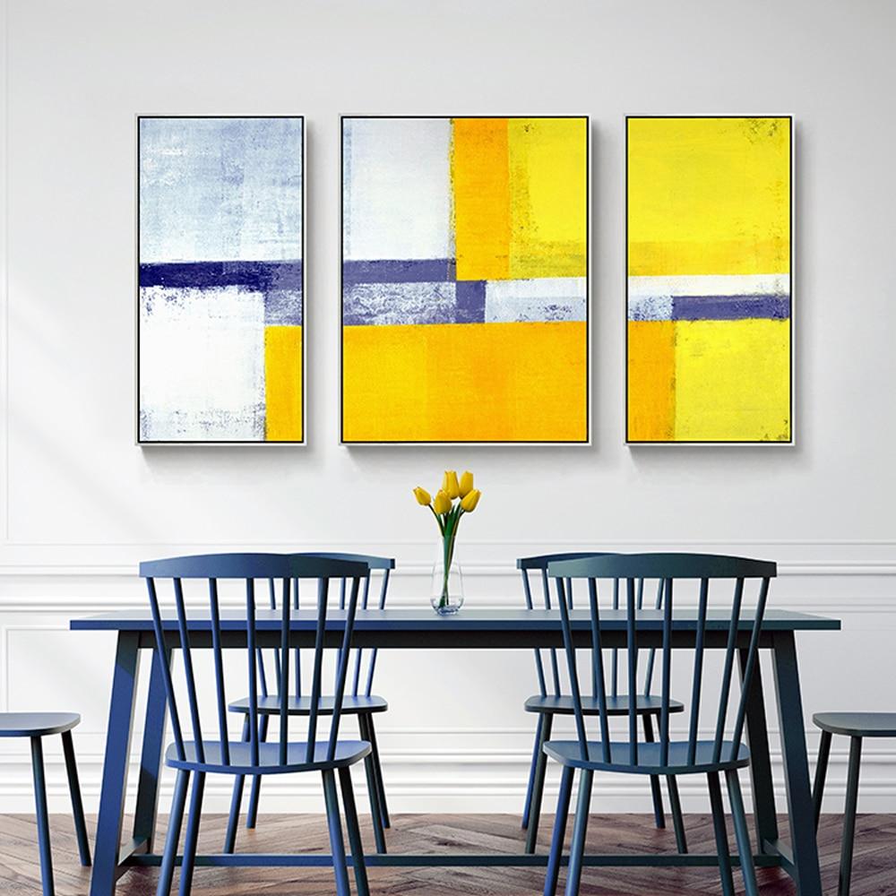 Dekorative Leinwand Malerei 3 Stück Leinwand Wandkunst Bilder Für Wohnzimmer  Gelb Blau Grau Abstrakte Malerei Acryl Kunst In Dekorative Leinwand Malerei  3 ...