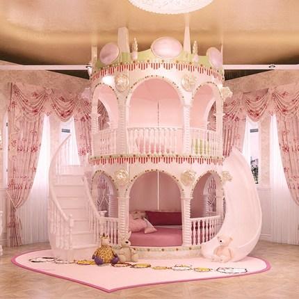 Bedroom Princess Girl Slide Children Bed , Lovely Single Pink Castle Bed Girls Furniture