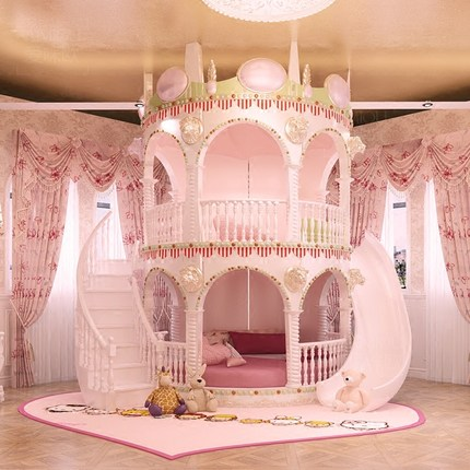 Bedroom Princess Girl Slide Children Bed , Lovely Single Pink Castle Bed Girls Furniture ...