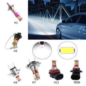 Image 2 - 1pc H1 H3 H4 H7 H11 9006 4014 57 smd 6000 18k車プロジェクターフォグドライビングライト電球ホワイト車光源自動車led電球dc 12v