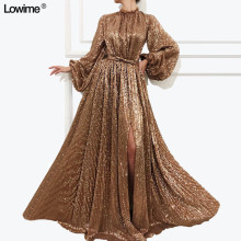 Lowime Dress 2019 A-Line Long Sleeves Evening Dresses