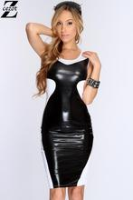 CeZot Fashion Women Bandage Dress Ladies' PU Dress Leather Sleeveless Sexy Party Bodycon Women's O Neck Clubwear Midi Dress