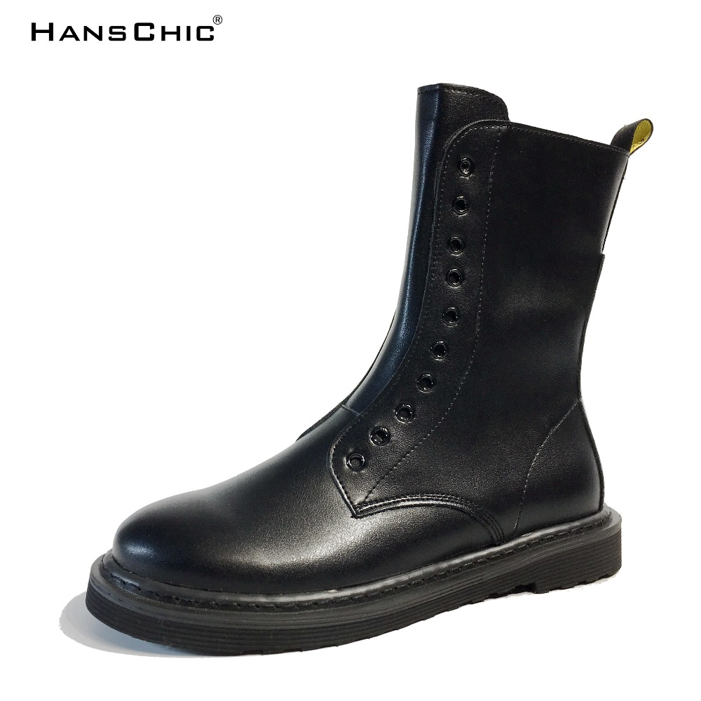HANSCHIC 2017 New Fashion Black Retro Unique Special Design Womens Ladies Leather Casual Boots with Zippers for Female 8888