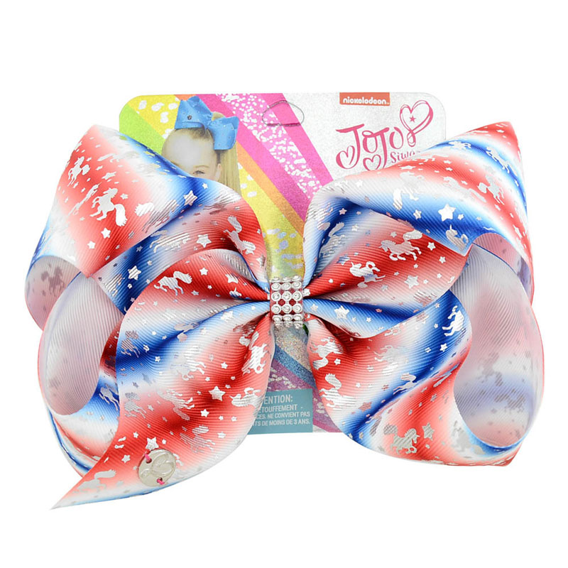 8 Blue Large Party Bows For Girls Handmade Hair Clip Claws Kids Print Ribbon Unicorn Knot Jumbo Bow Headwear