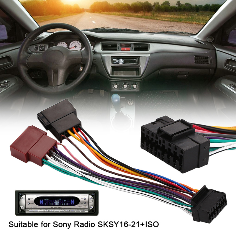 sony automotive audio wiring harness 16pin car stereo radio harness iso for sony radio radio play plug  16pin car stereo radio harness iso for