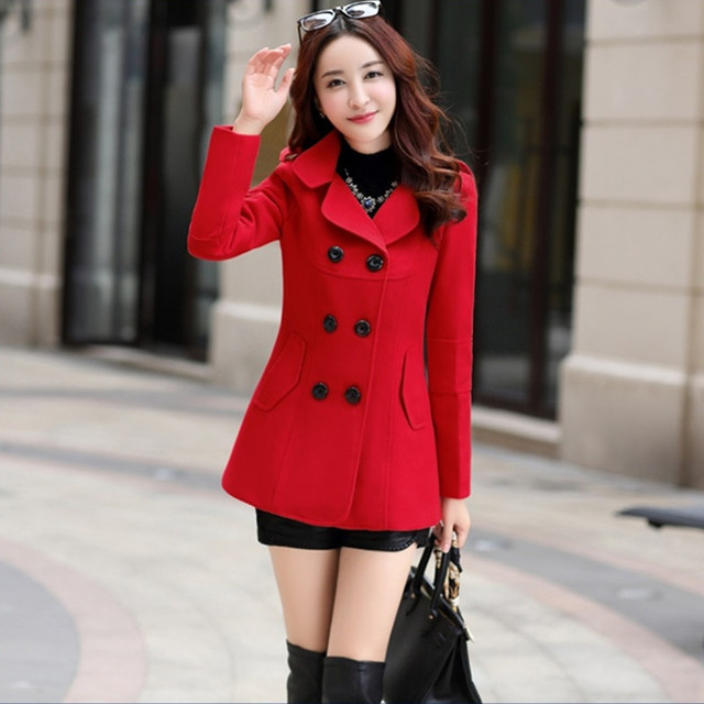UHYTGF Fashion Winter Jacket Women's Double Breasted Short Wool coat Solid Color Korean Slim Female Woolen Jacket Plus Size 1150 2