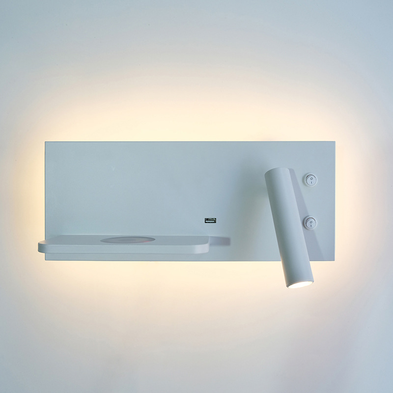 Image 3 - ZEROUNO Modern Hotel Wall Lamp Wall Lights Fixture Bed Room Headboard Reading Lamp via 5v Wireless USB Charger Backlit Lights-in LED Indoor Wall Lamps from Lights & Lighting