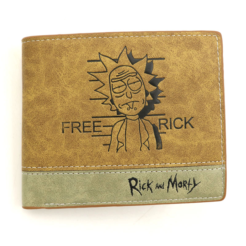 Anime Comics Rick And Morty Khaki Leather Wallet With Coin Pocket Card Holder Purse Men Women Gift Money Bag