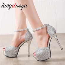 platform sandals peep toe heels silver shoes glitter heels mary jane shoes tacones extreme high heels stilettos shoes for women цена 2017