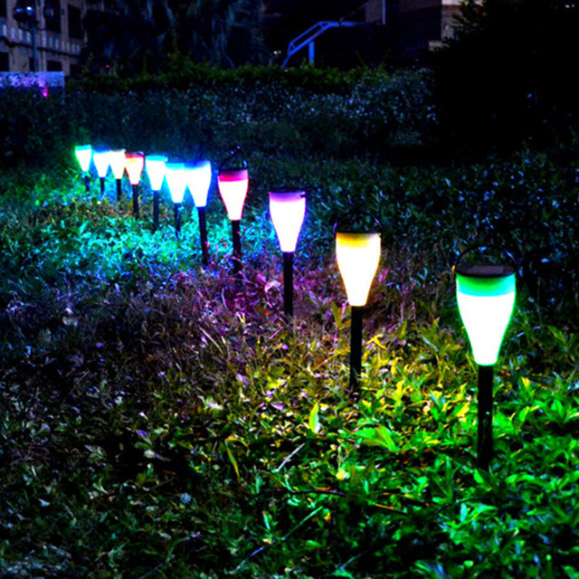 IP55 6pc Solar Powered LED Path Lights Color Changing Waterproof Solar  Garden Lights Outdoor Garden Christmas