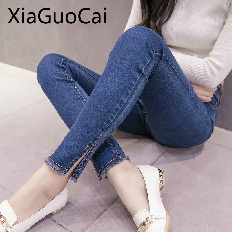 Ins Fashion Women Pants Autumn New Korean Students Elastic Female High Waist Jeans Female Tide Women Jeans