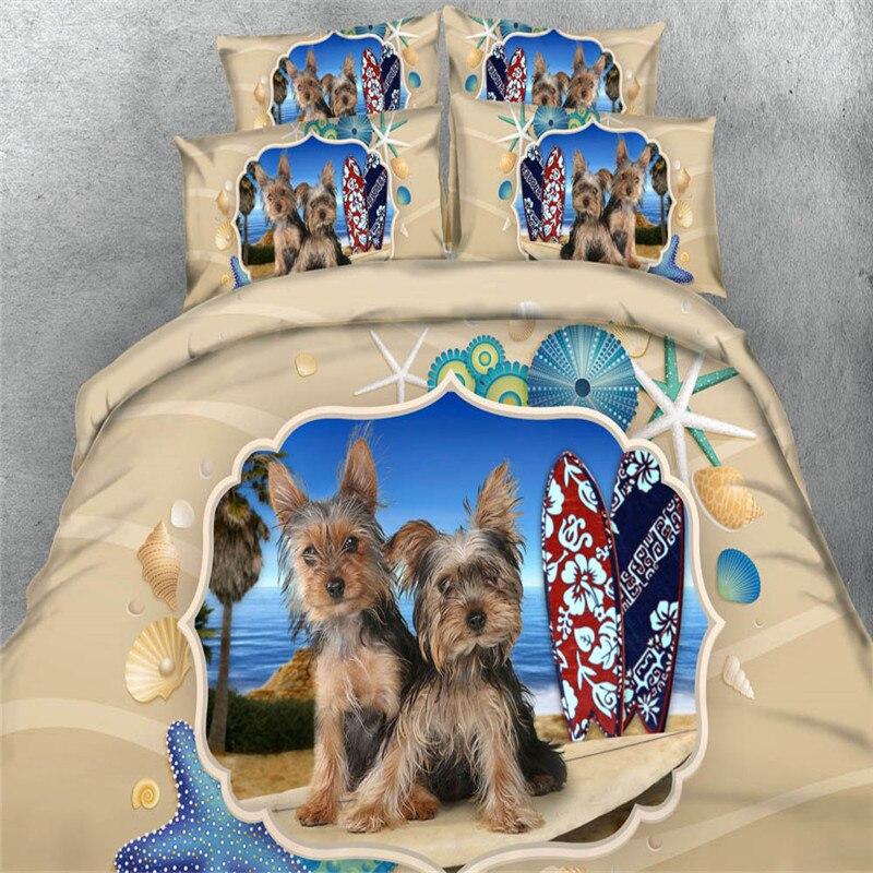 Blue sea shell สุนัขสัตว์เลี้ยง 3d การ์ตูนพิมพ์ชุดเครื่องนอน queen king ขนาดผ้าปูสาวผ้าคลุมเตียงเด็กเตียง 3/4pc-ใน ชุดเครื่องนอน จาก บ้านและสวน บน   1