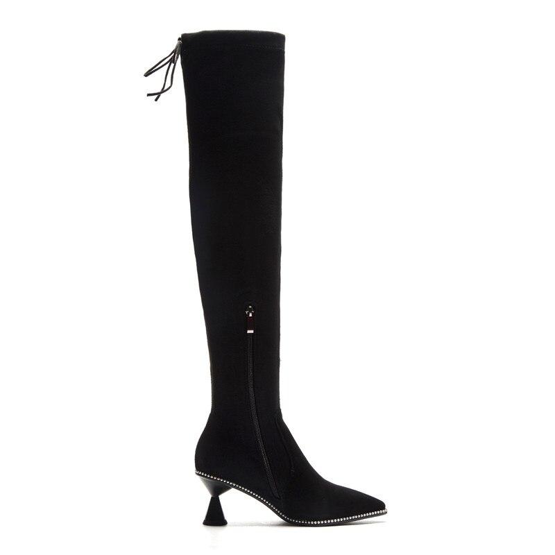 Mujeres Zapatos Muslo Invierno Otoño Punta Largas Manera Sobre Botas De Negro Estrecha Venta Suede Memunia Alto Nuevo 2018 La Cuero Rodilla Caliente w0BxH7R