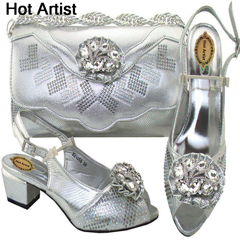 Фото Hot Artist High Quality New African Wedding Shoes And Bag Set For Wedding Nigerian Shoes And Purse Set Free Shipping MM1058