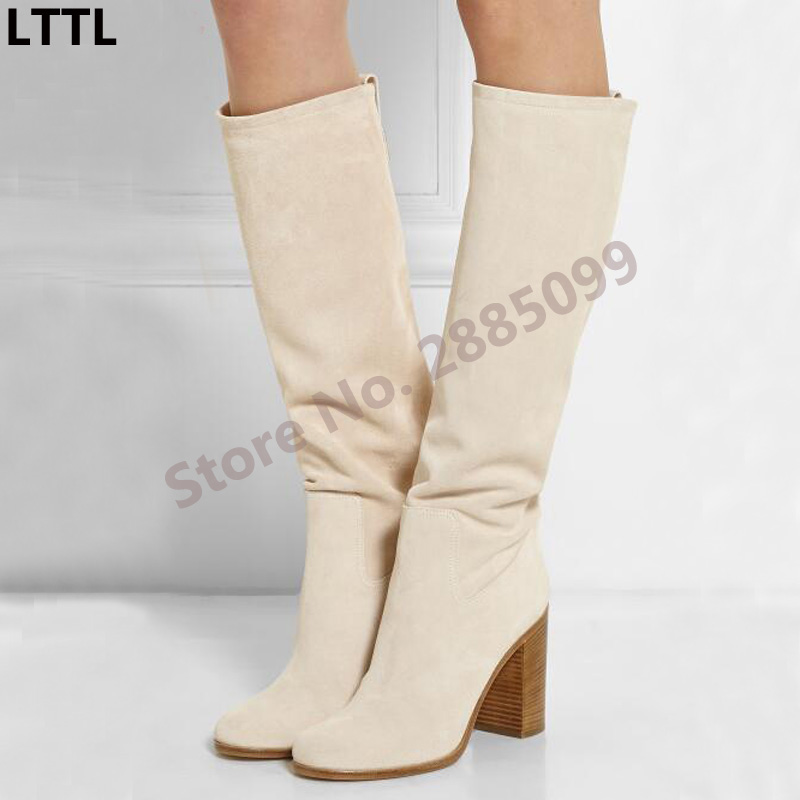 Women Fashion Suede Leather Knee-High Boots Ladies Slip-On Round Toe Square Heel Female Sexy Gladiator Boots New Design