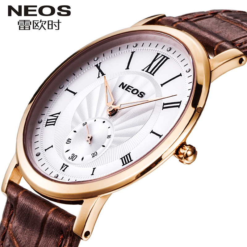 NEOS Brand Ultra-thin Men's And Women's Watches Waterproof Leather Fashion Trend Quartz Watch Small Three-pin Business Couple odeon light bula 2904 1
