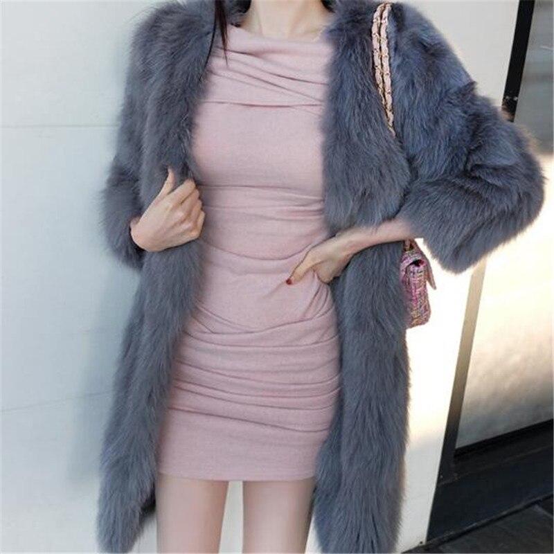 Femmes Pour Hiver Fourrure Élégant Mince De Veste Gris Faux Long Longues Manteaux Fausse Gray À Les A5011 Outwear Furry Manches wrxnRYrq