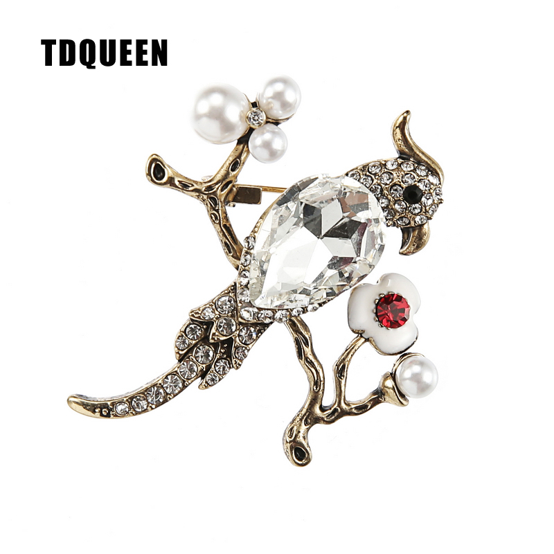 TDQUEEN Brooches Large Crystal Bird Pins and Brooches Gold-color Safety Pin Jewelry Simulated Pearl Wedding Brooch for Women