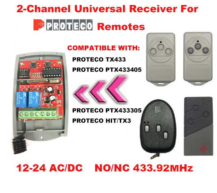 2-CH PROTECO TX433 Gate/Garage Door Opener Replacement Receiver DC 12-24V aeterna replacement remote control hs433 1mini hs433 2mini hs433 1 tx433 hs433 2 tx433 hs433 4 tx433 free shipping