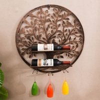 Round Metal Wine Rack Goblet Hanging Decorative Glass Bar Room Art Wine Holder