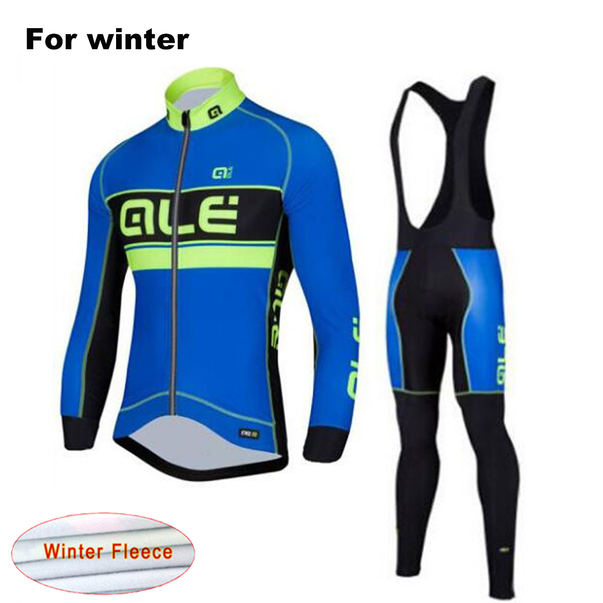 2017 Ale Team Winter Long Sleeves Bicycle Clothing Thermal Fleece Cycling Jersey Set Outdoor Sport Coat Bib Suit with 9D Gel Pad mavic winter thermal fleece bicycle clothing bib set men s long sleeves cycling jersey warm outdoor sport coat suit 9d gel pad
