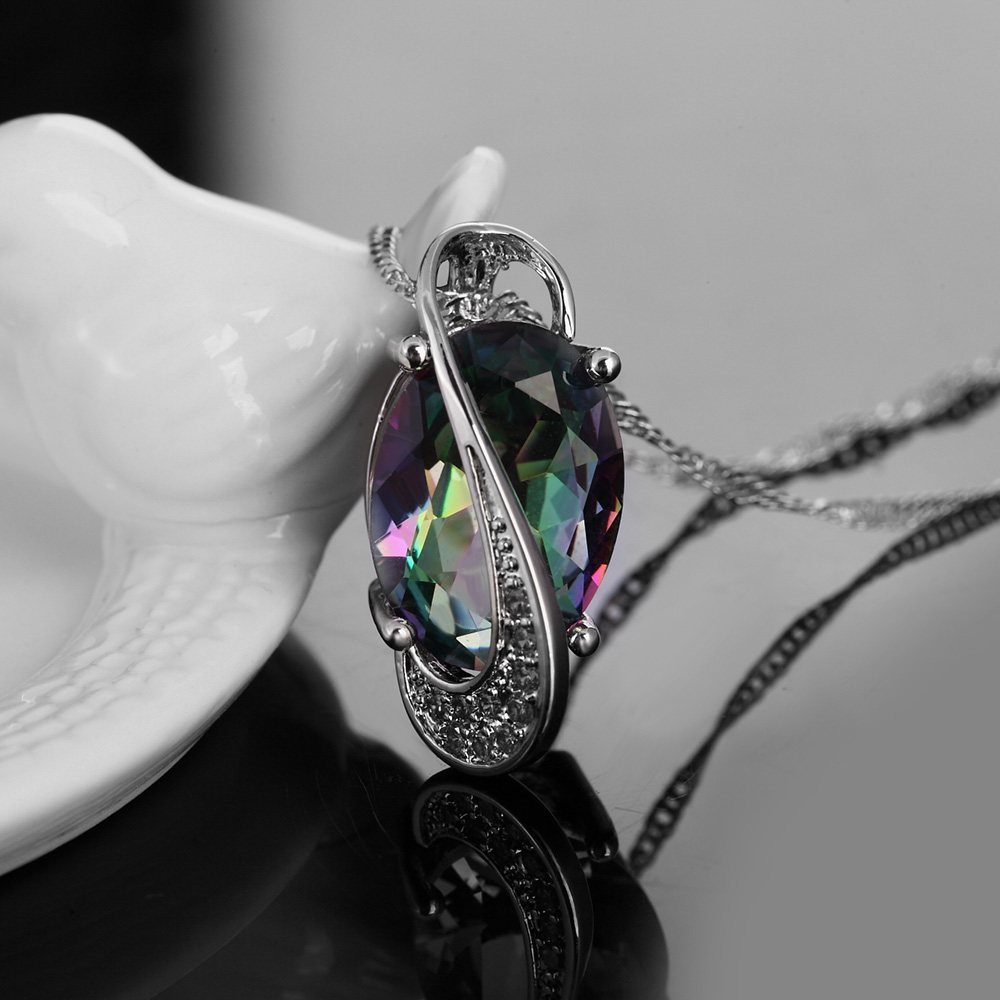 GINSTONELATE wedding white gold color women necklace crystal jewelry fashion cute necklace cz stone noble noble hot sale