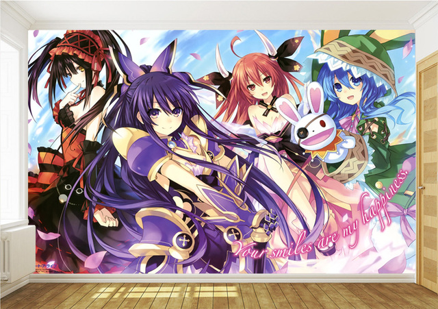 Date A Live Wall Mural Custom 3D Wallpaper Japanese anime Photo Wallpaper Girls Bedroom Hotel TV background wall covering Decor