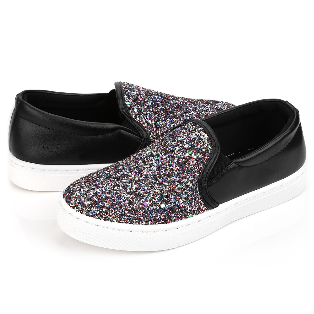 Women Flats Shoes Woman Spring Glitter Casual Loafers Black Golden Bling Glitter Flats Lazy Shoes Size 36-40 gold sliver shoes woman for 2016 new spring glitter bling pointed toe flats women shoes for summer size plus 35 40 xwd1841