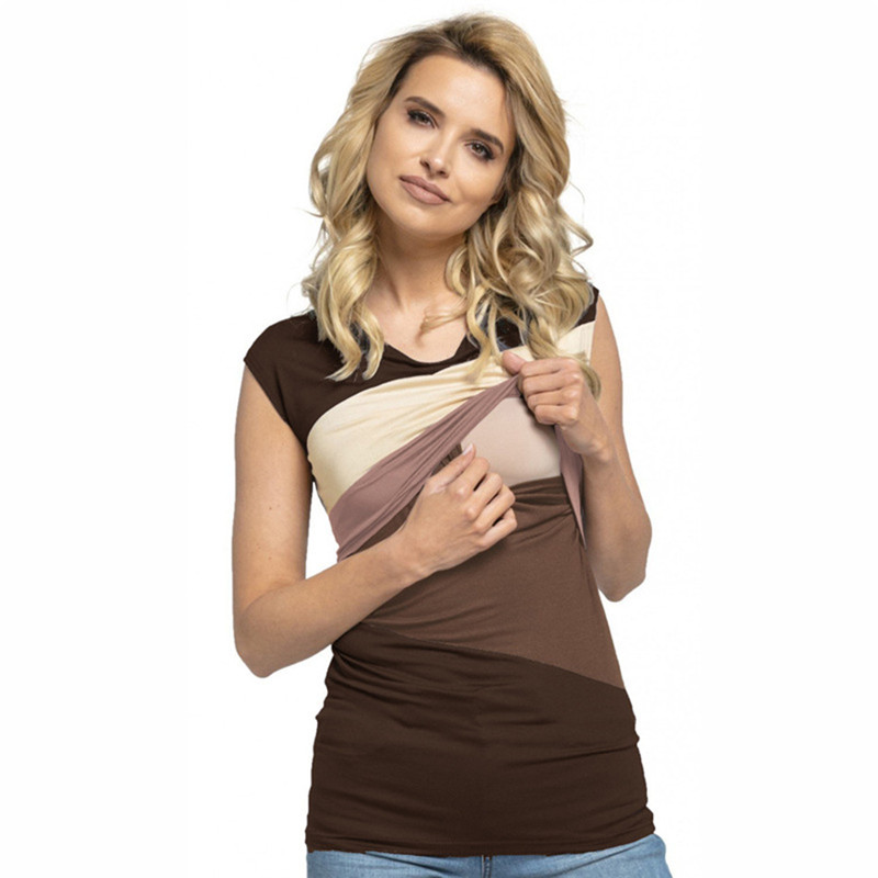 Breast Feeding Vest Maternity Tanks Contrast Color Sleeveless Shirt Pregnant Nursing Tan ...