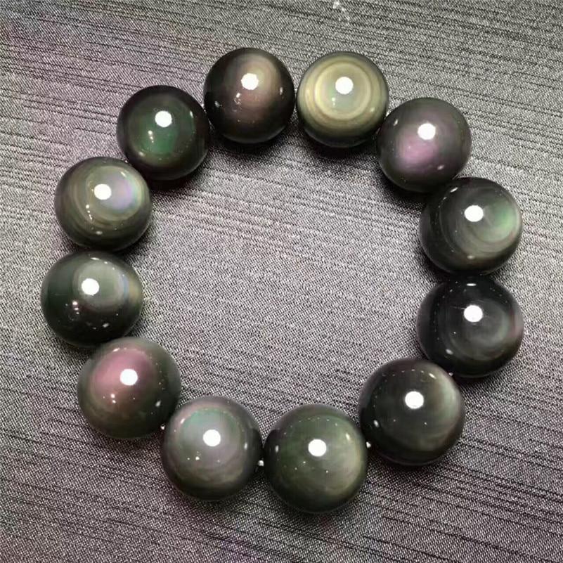 18mm Natural Black Obsidian Gemstone Bracelet Round Big Beads Stretch Obsidian Bracelets Man Lady AAAAA Drop Shipping(China)