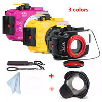 Seafrogs 60M/195ft Underwater Camera Housing Case for Olympus TG5 Camera Bags + Fisheye Lens + 67mm Red Filter