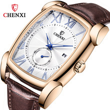 CHENXI 2019 Top Brand Luxury Mens Fashion Watches New Leather Strap Quartz Watch Waterproof Male Wristwatch Relogio Masculino