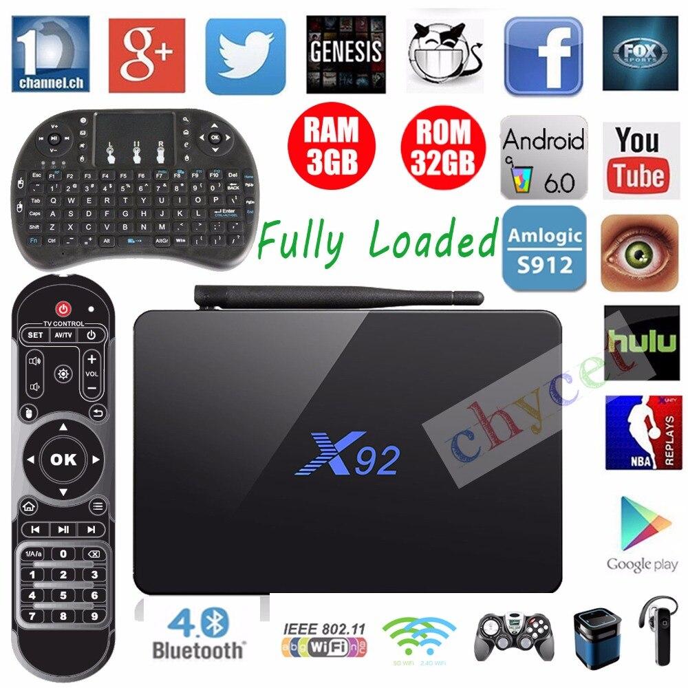 Chycet X92 3GB/32GB Amlogic S912 Android 6.0 TV Box Octa Core Fully Loaded Wifi 4K H.265 Smart Set Top Box PK H96 PRO+Keyboard