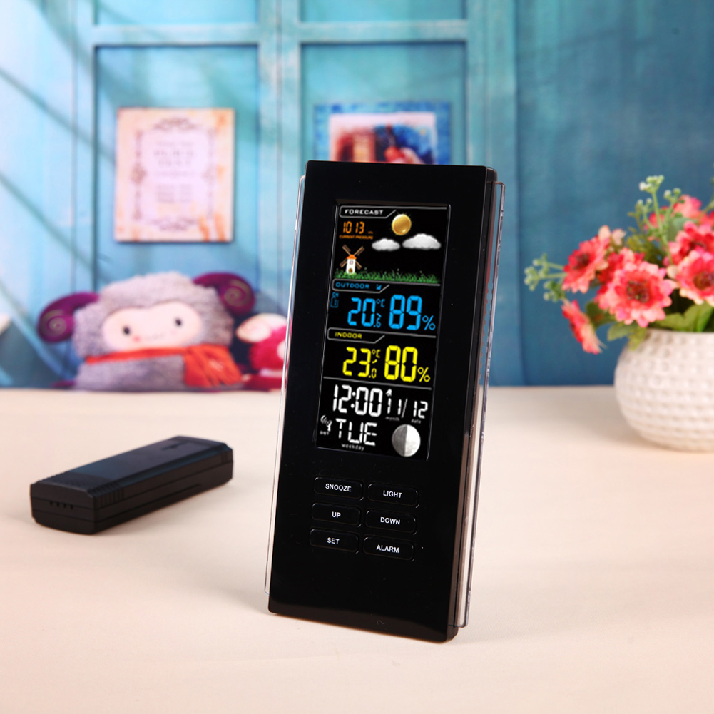 Wireless Weather Station Thermometer Forecast Humidity Indoor Outdoor Clock Alarm LCD Display Temperature Humidity Tester wireless color weather station indoor outdoor forecast temperature humidity alarm and snooze thermometer hygrometer us eu plug