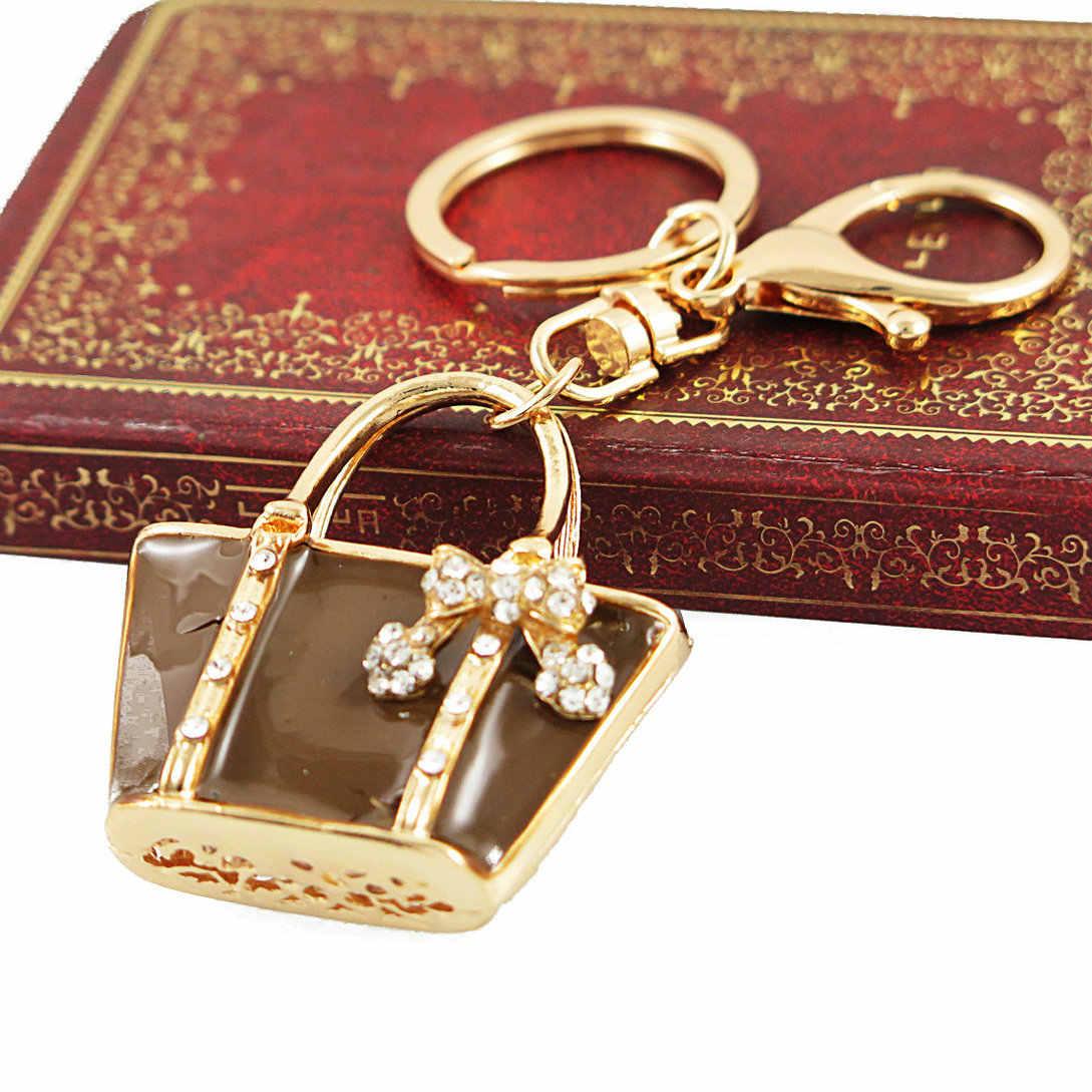 3e13c44f03a5 New Charm Fashion Keychain Creative Handbag Shaped Design Keychain Crystal  Purse Bag Keyring Key Chain Female