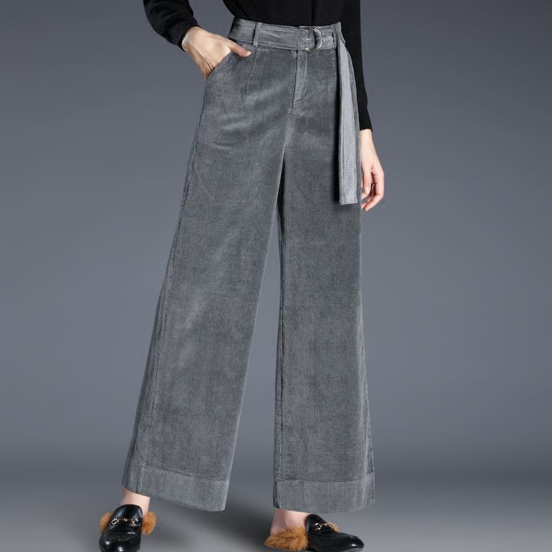2018 New Fashion High Waist Loose Wide Leg Pants Women Autumn Winter Corduroy Straight trousers casual trousers Retro