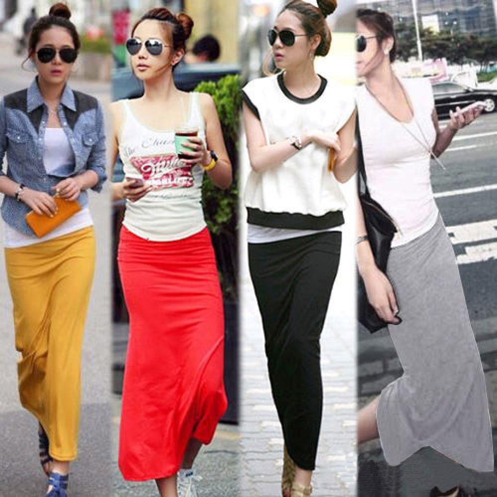 Aliexpress.com : Buy 1X Women Solid Cotton Maxi Skirt Women High ...
