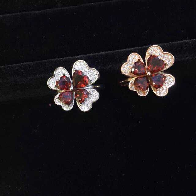Natural red garnet Ring Natural gemstone Ring 925 sterling silver trendy Elegant Cute four leaf clover