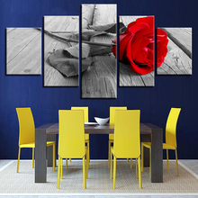 Decor Framework Wall Art Printed Pictures 5 Pieces Red Rose Flower Wood Board Painting For Living Room Modern Canvas Posters