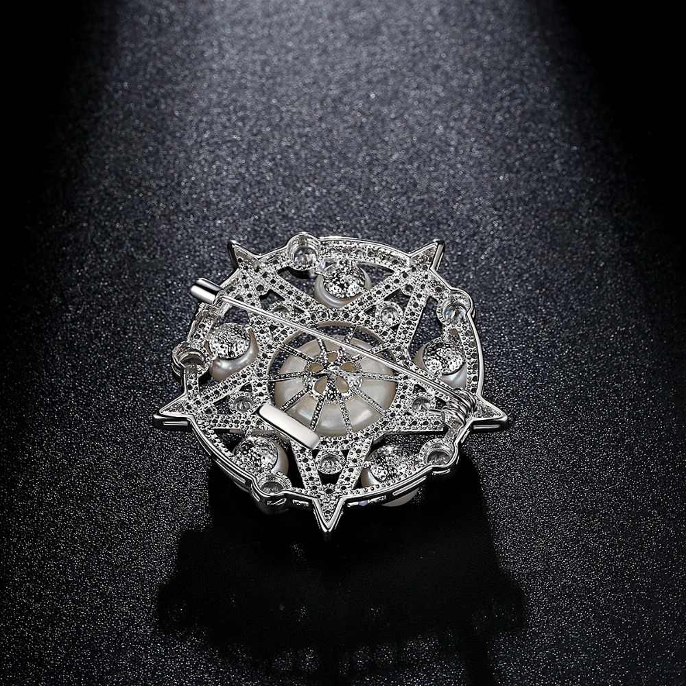 LUOTEEMI Brand Luxury Jewlery Five-pointed Star Style Round Flowers Pins Natural Pearls Brooches Wedding Jewelry for Women Gift