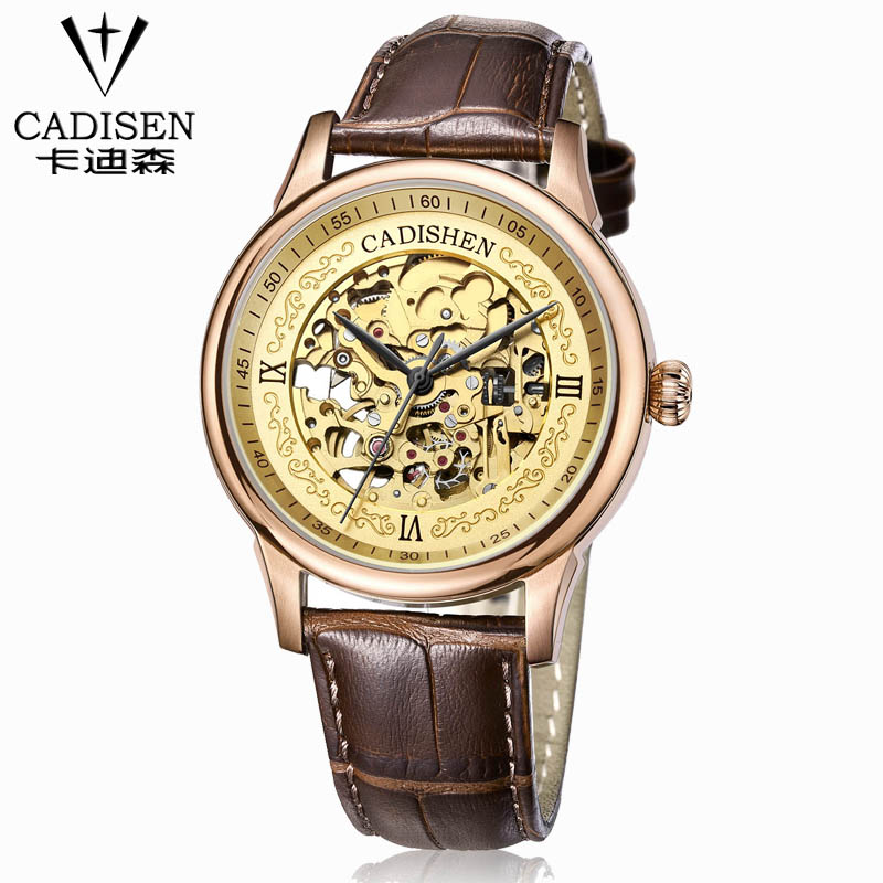 цены  CADISEN new men leather watch wrist original luxury top brand big automatic fashion sports Mechanical watches relogio masculino