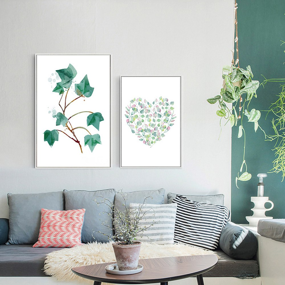 Large Wall Pictures For Living Room: Modern Green Tropical Plant Leaves Canvas Art Print Poster