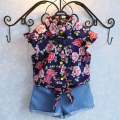 Summer girl favourate suit flowers printing short Shirt+short pants set girl clothes 2016 new design