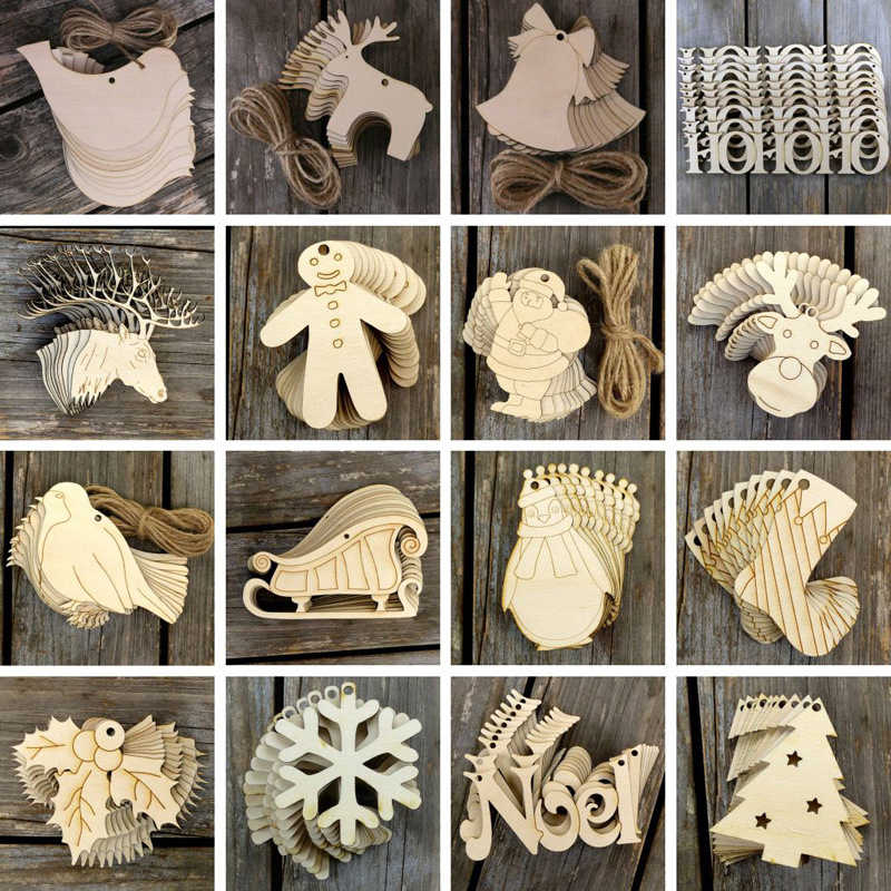 New 10pcs/Set White Red Christmas Tree Ornament Wooden Hanging Pendants Angel Snow Bell Elk Star Christmas Decorations for Home