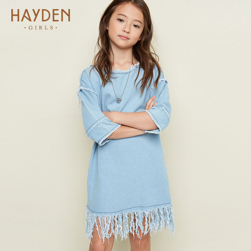 HAYDEN teenagers girls dress summer denim costumes 10 11 12 years off shoulder children party frocks 7 8Y clothing girls clothes купить
