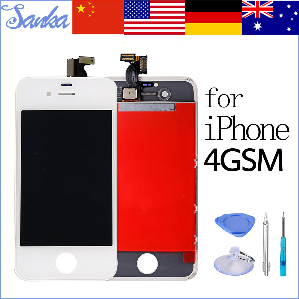 SANKA Test Replacement LCD For iPhone 4 4G Display Digitizer Touch Screen Assembly Ecran Pantalla Black White & Free Tools A1332