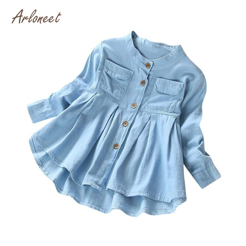 ARLONEET Toddler Kid Baby Girls Denim Ruched Long Sleeve T-Shirt Tops Blouse Clothing Solid Long Sleeve Denim Fashion S3FEB8