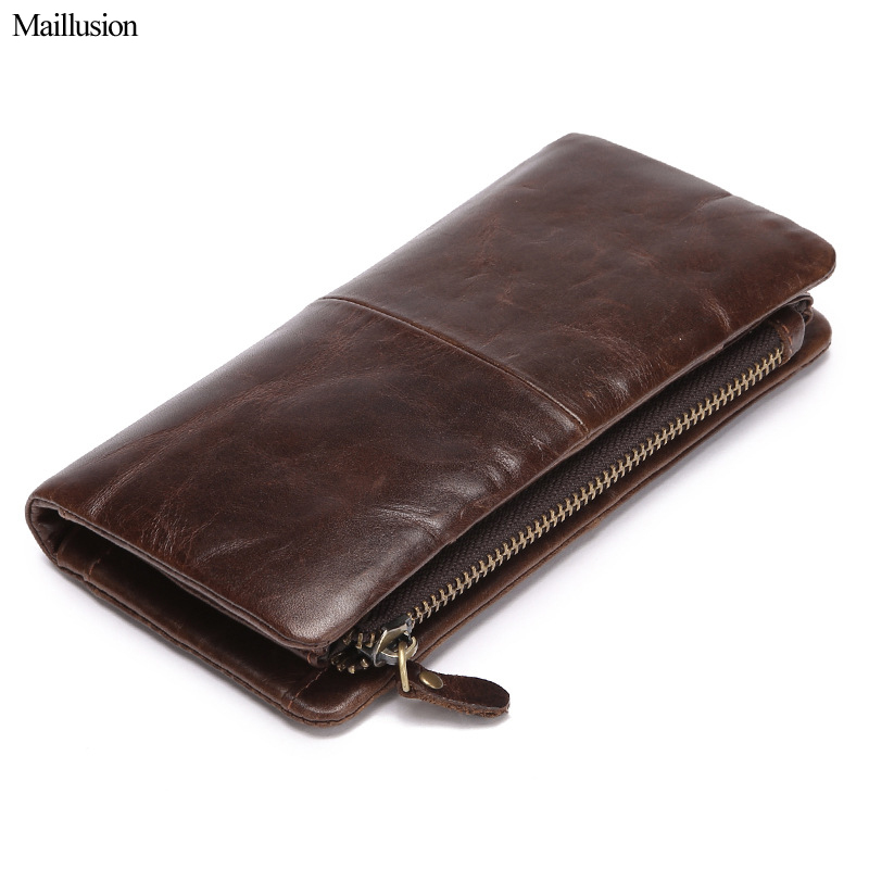 Maillusion High Capacity Wallets Men 100% Genius Leather Brand Designer Long Clutch Bag Male Hasp Multifunction Purse Carteira genius hs 300a silver